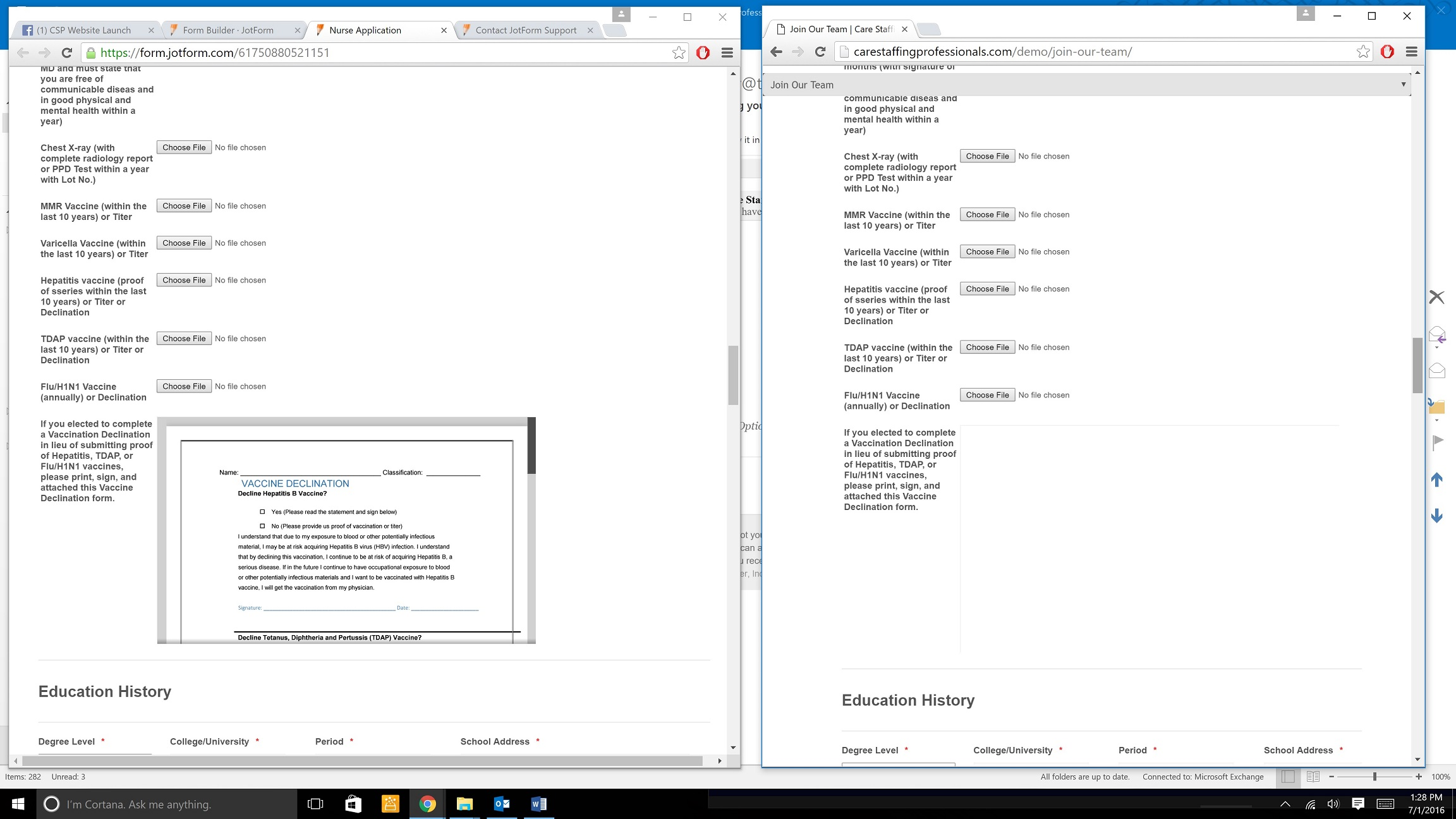 Unable to see pdf file on website jotform