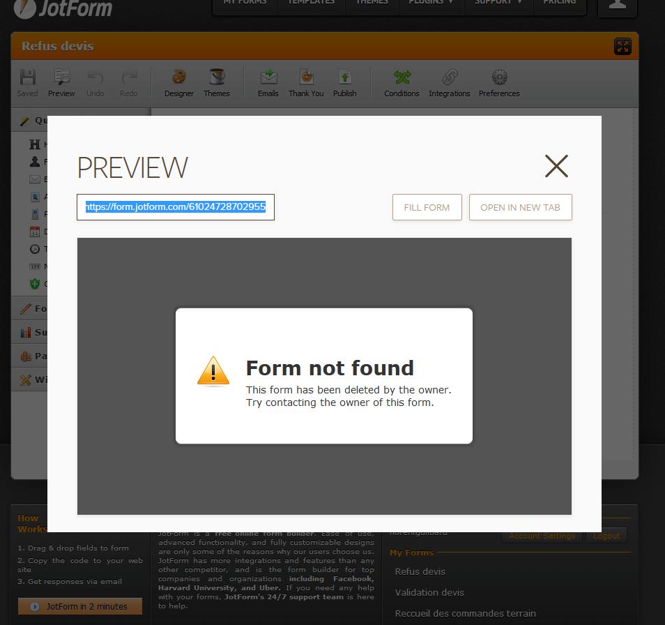 new form preview form not found eu server not found