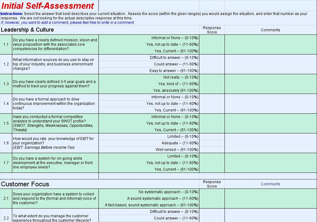 Excel Questionnaire Template