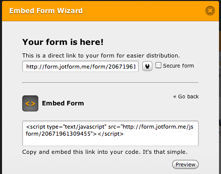 embedding form