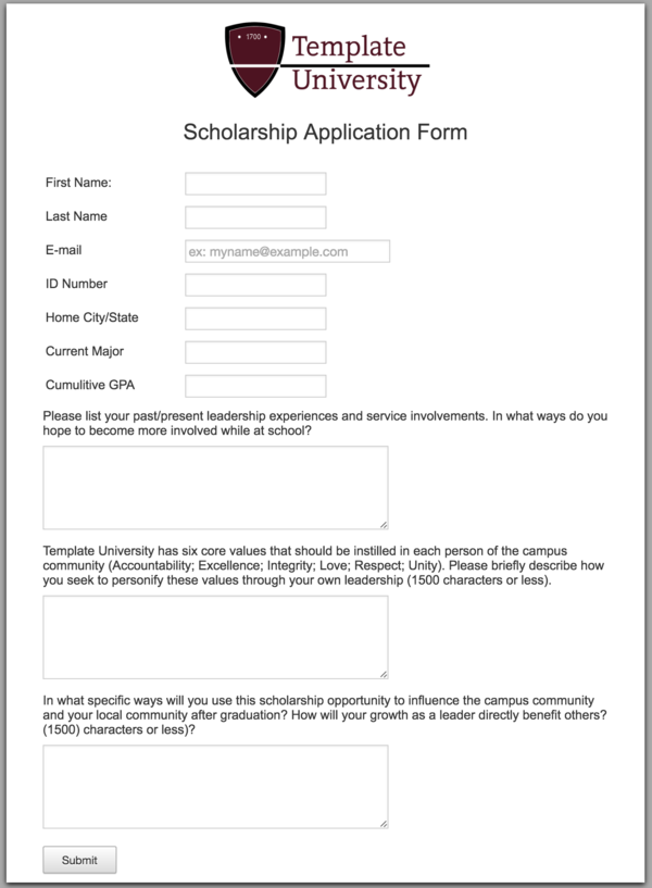 How to make a standout online scholarship application form the create your own scholarship application form altavistaventures Image collections