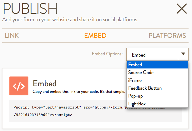 Publish Button Embed Options
