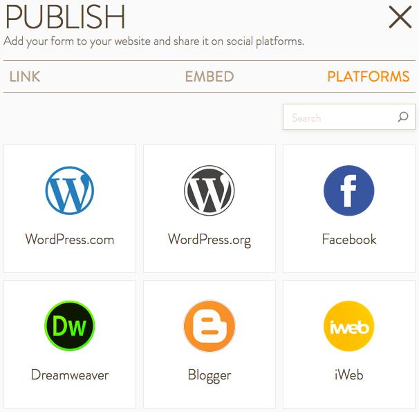 Publish JotForm on Platforms