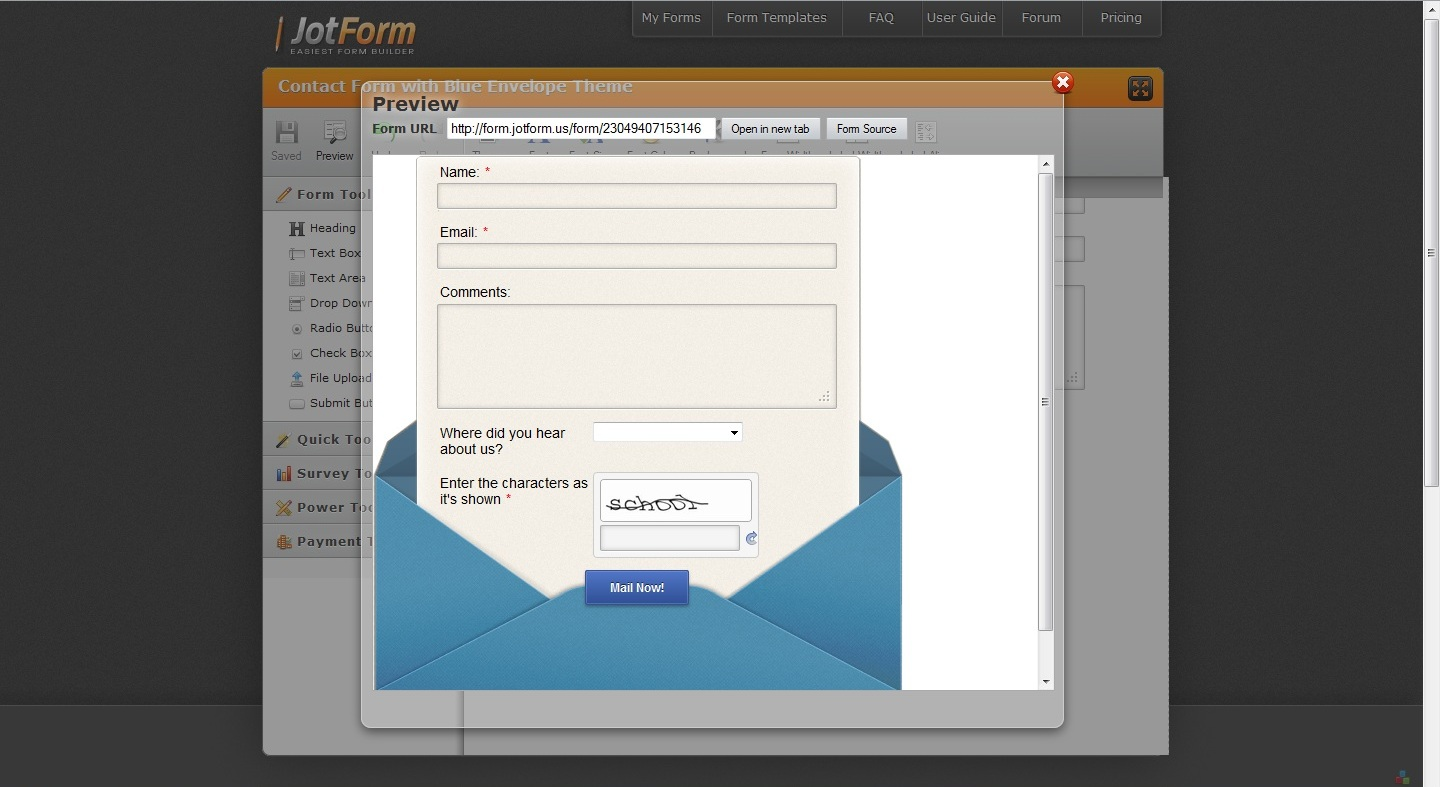 Screenshot. Contact Form · JotForm · Problem · Template  Contact Details Template