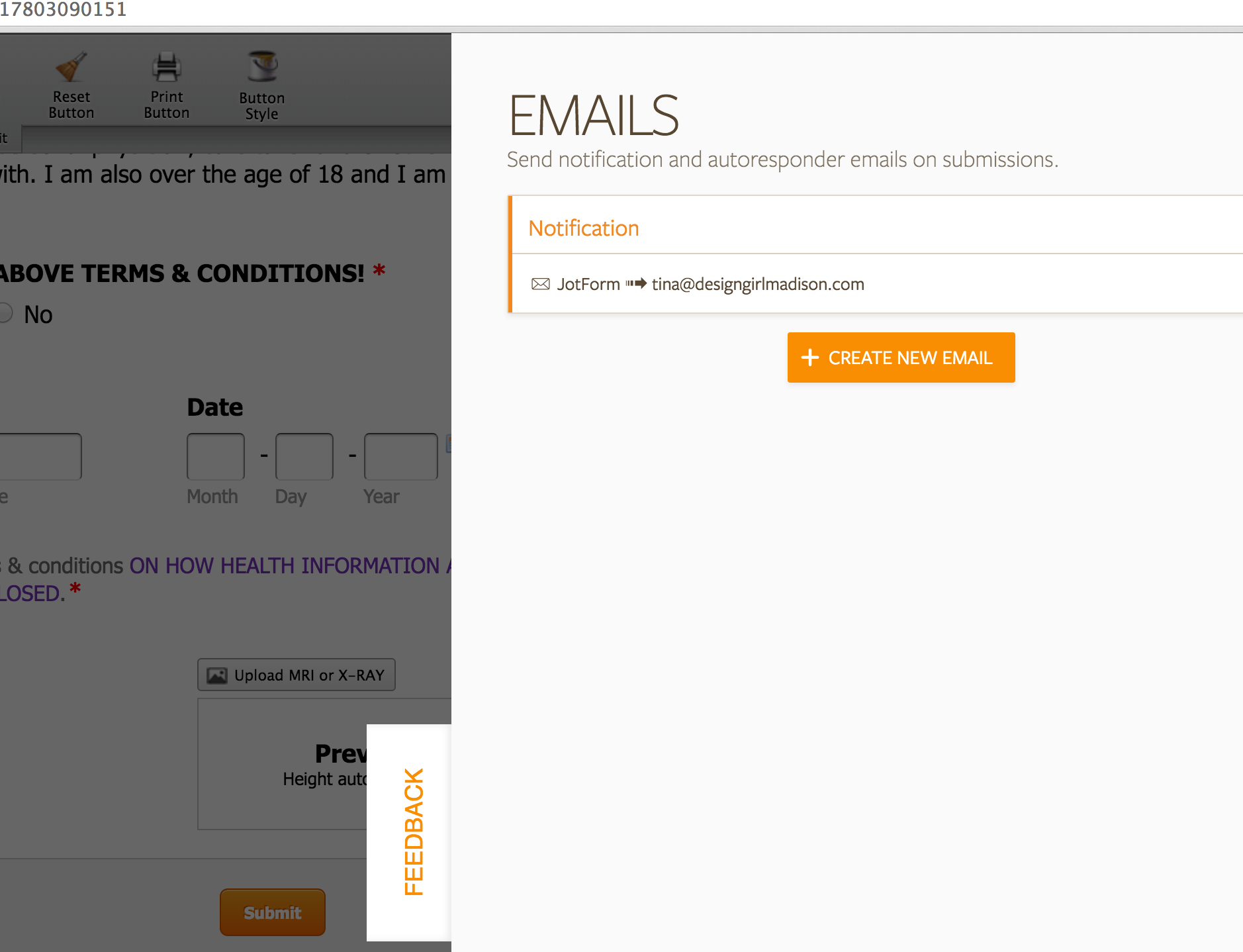 not receiving email notifications on new form jotform