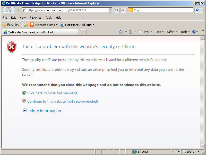 There Is A Problem With The Websites Security Certificate Error