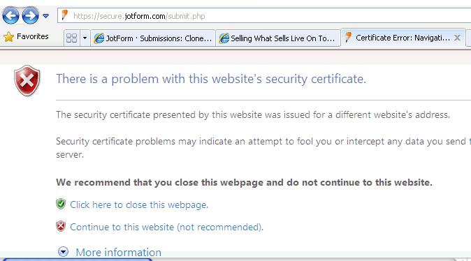 Security Certificate issue   JotForm