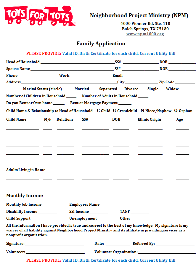 Toys For Tots 2017 Application Form : Toys for tots application wow
