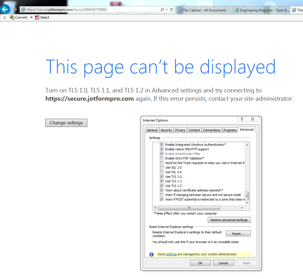 Tls error when accessing form with internet explorer jotform screenshot xflitez Gallery