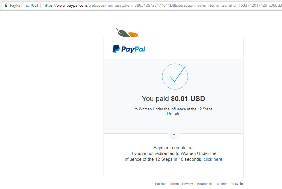 Paypal Redirect does not work on Google Chrome, but works on Safari