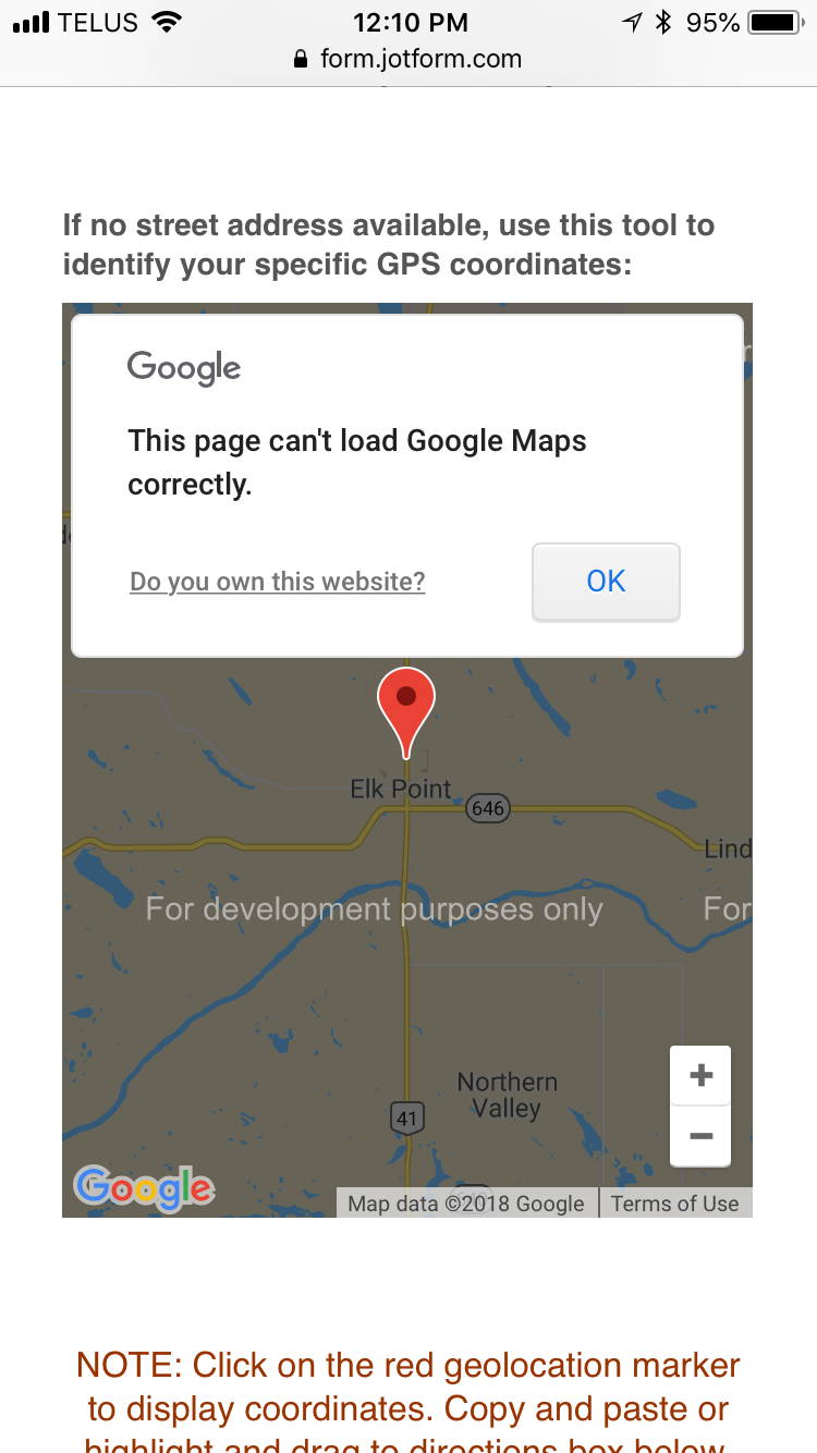 Why is the Geolocation widget not showing on form preview? | JotForm