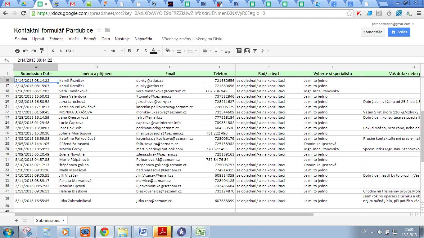The integration with Google spreadsheets does not work properly