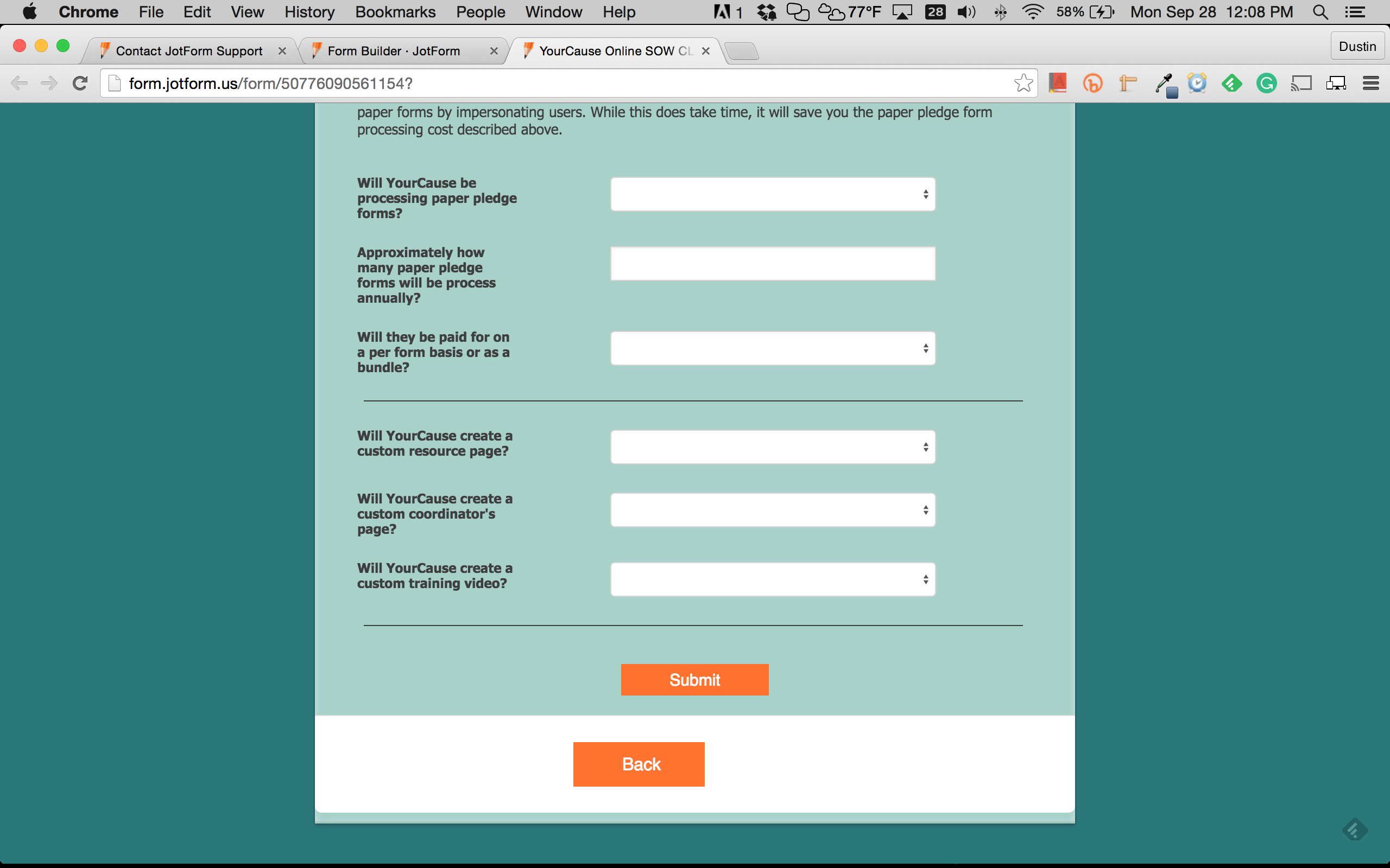 Form Submission using Submit Button is not Responsive | JotForm