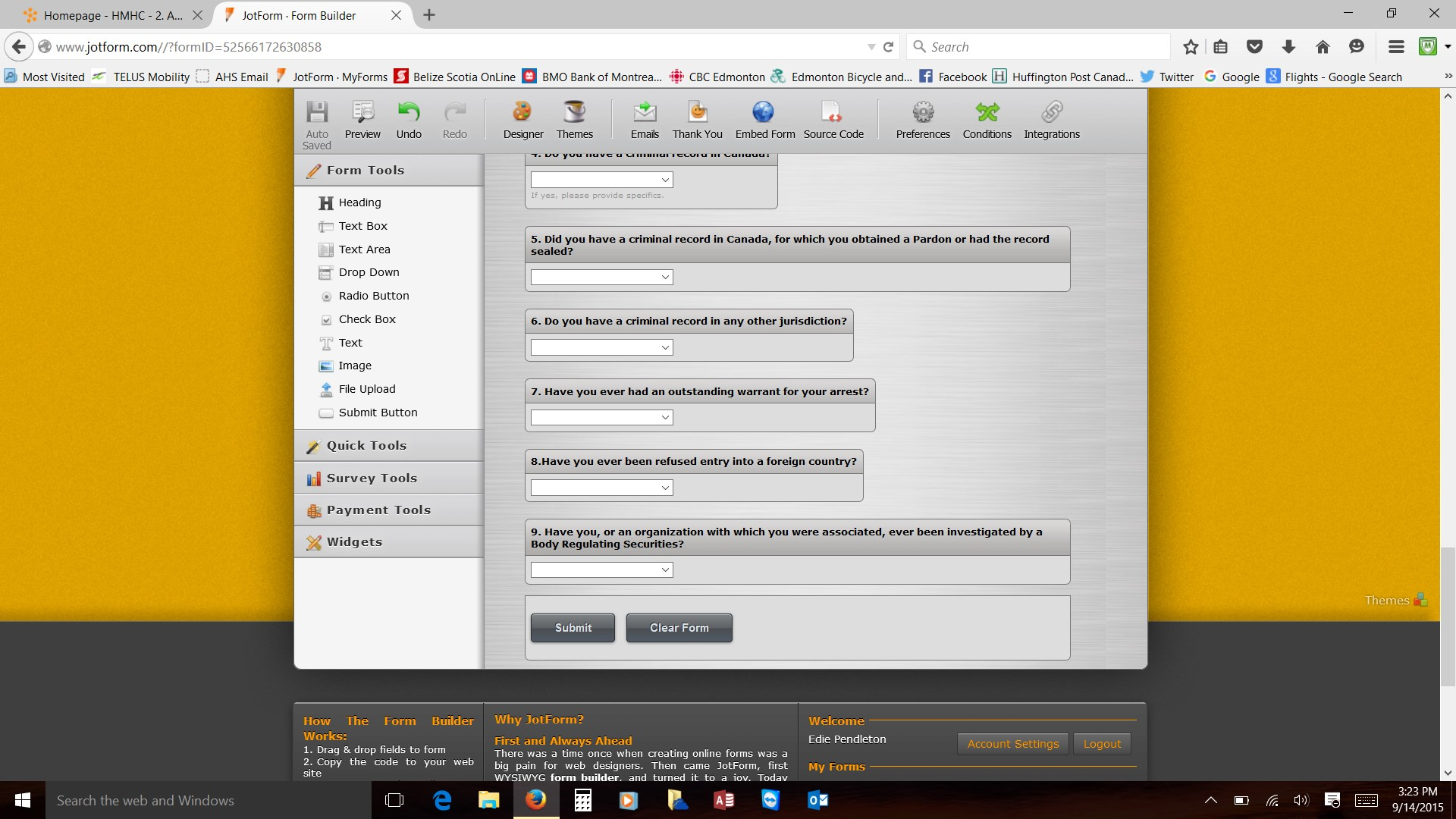 Using Jotform template. Created a question with yes/no answers but ...