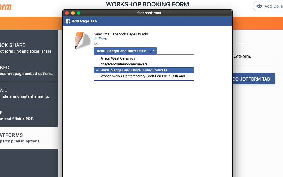 Adding Form to facebook page error?