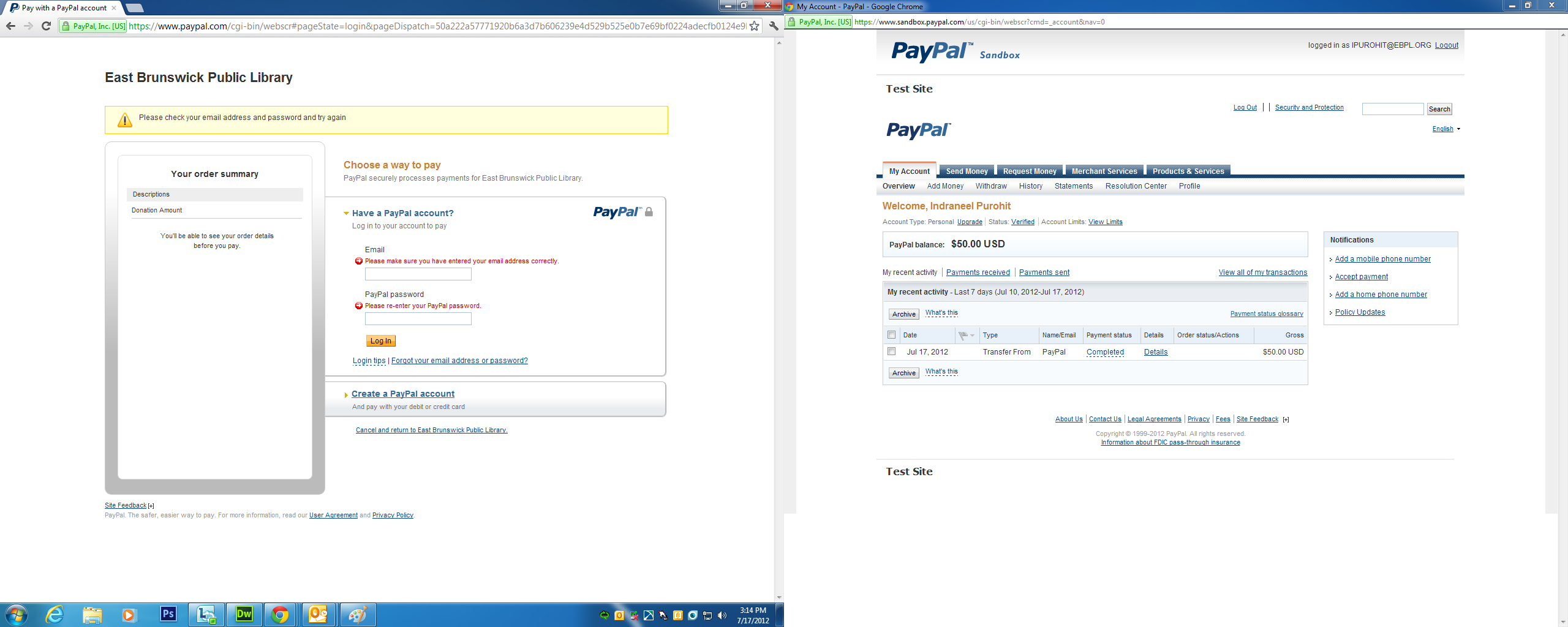 PayPal Pro integration with our Public Library donations form is ...