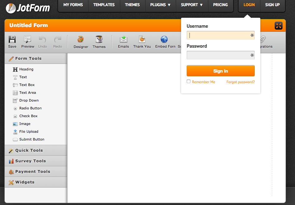 Blank page when trying to integrate a form to Google Drive