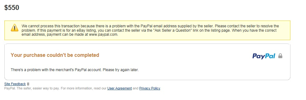 paypal payments problem with the email address supplied by seller