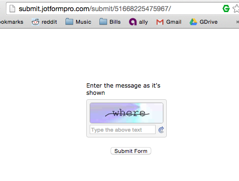 Captcha After Form Submit (Email HTML embedded form) No Javascript