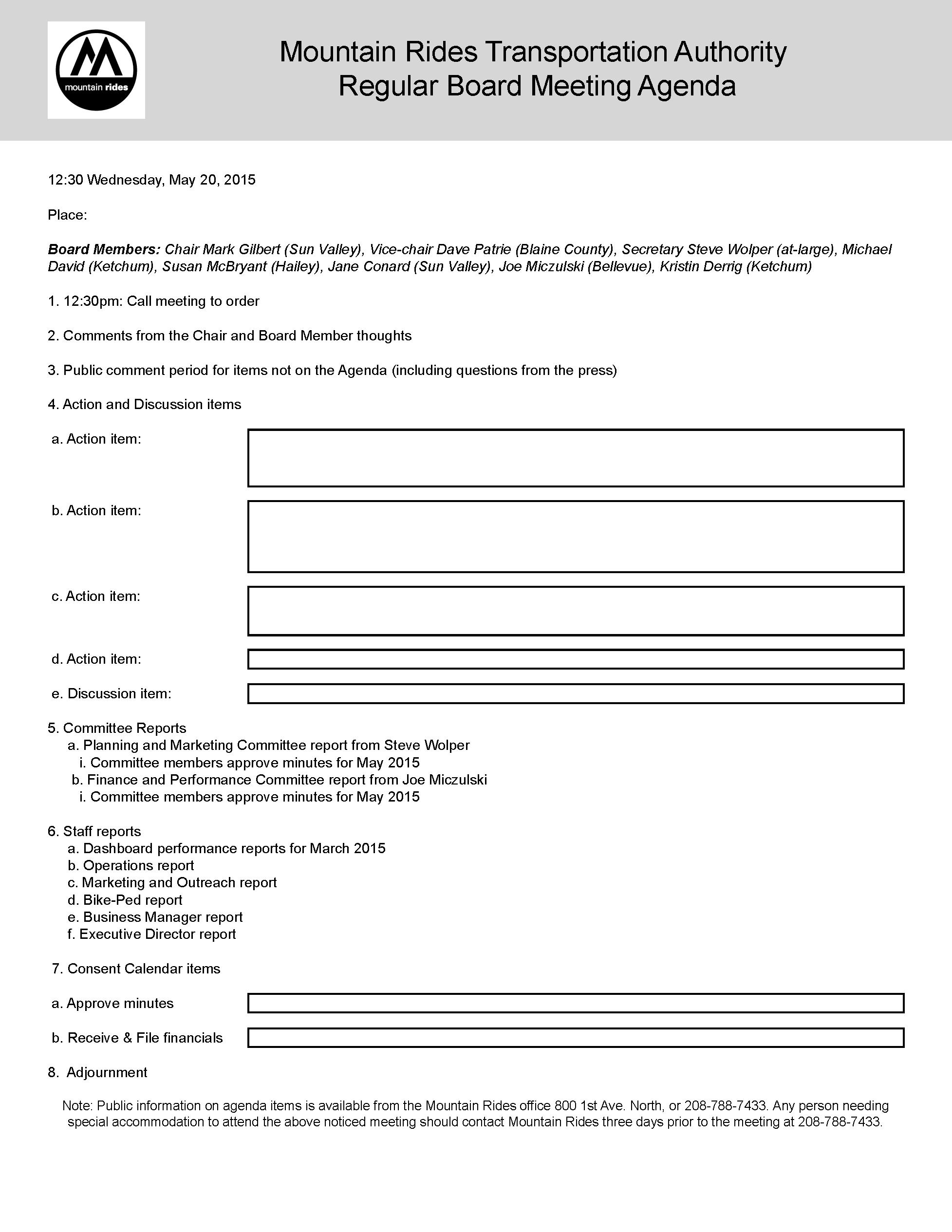 Make an agenda form – Agenda Form