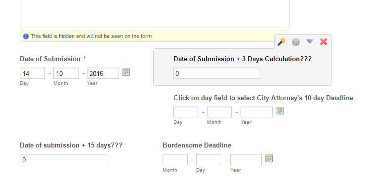 need a calculated calendar field i e date of submission 3