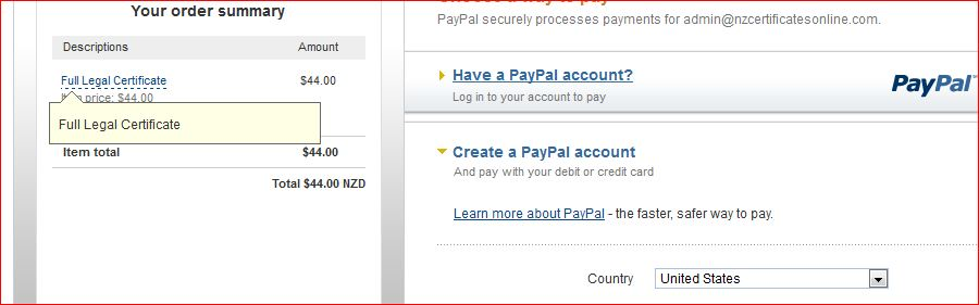 How do I change the default country on the Paypal credit card