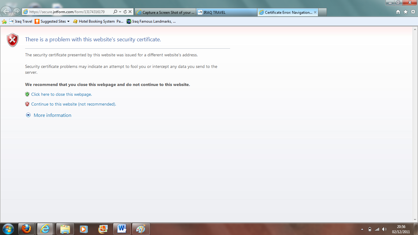 There is a problem with this websites security certificate jotform problem 1betcityfo Choice Image
