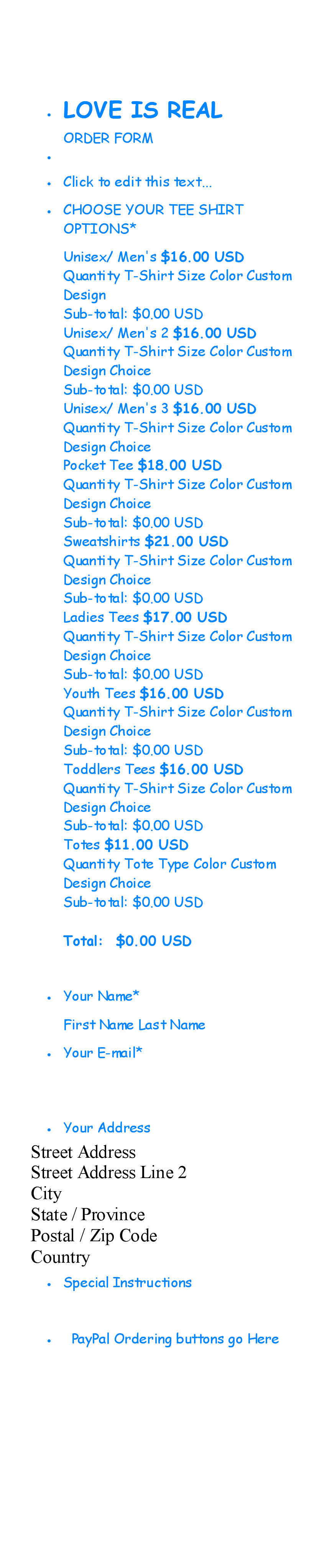 Order Form For Shirts Order Form Style Size Choices