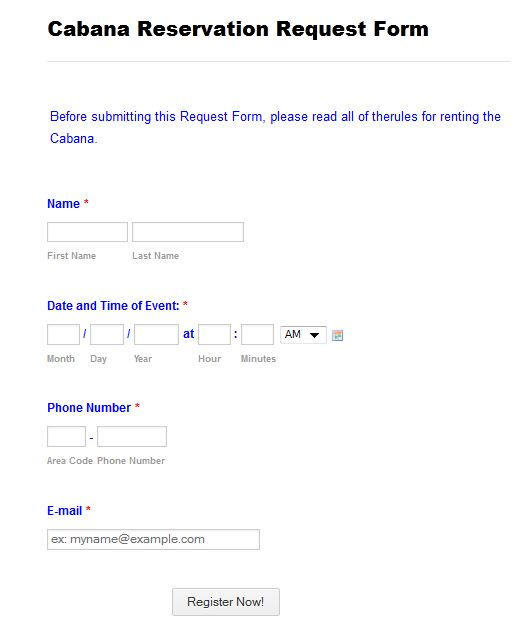 Email Reservation Form To Person Booking Reservations  Jotform