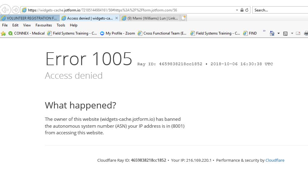 CloudFlare Error 1005 on form