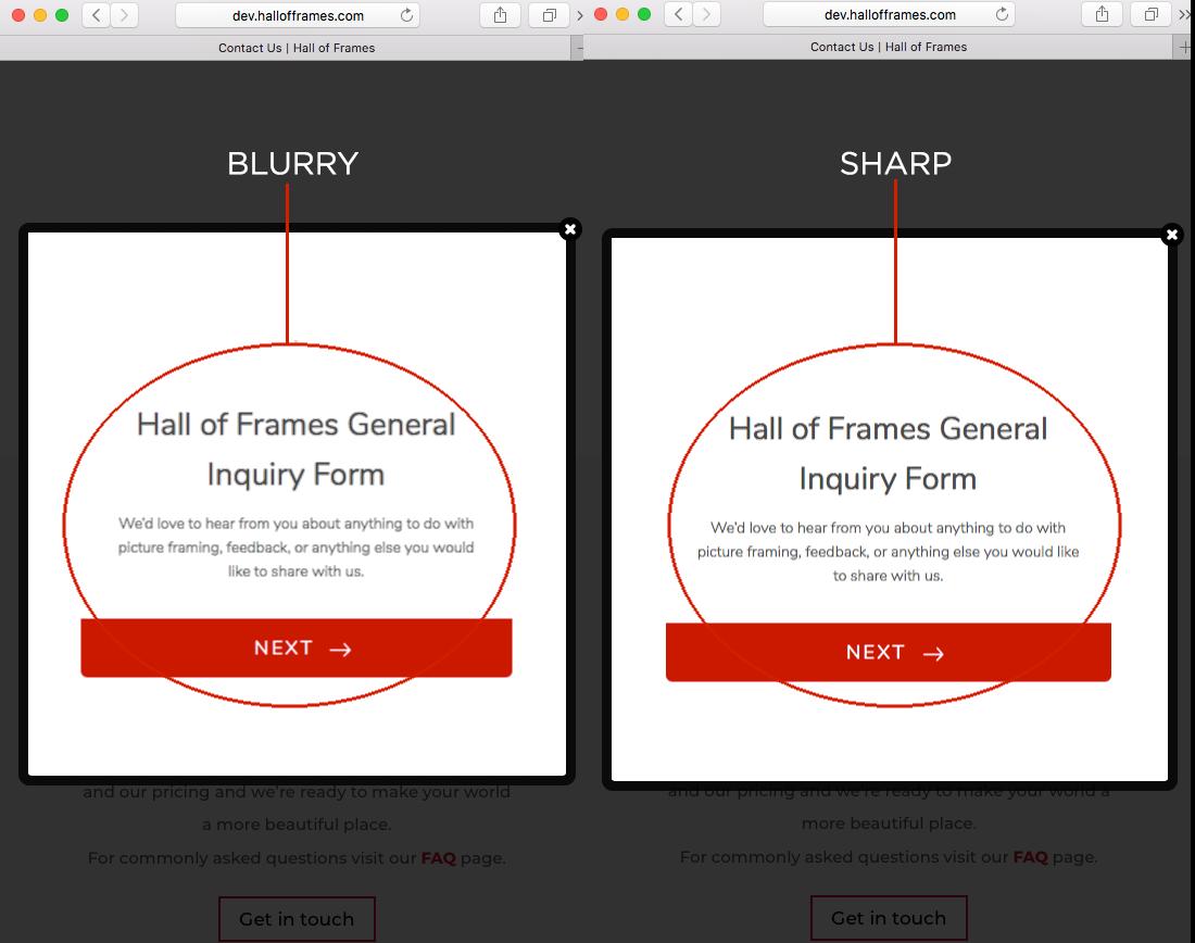 Responsive fonts are blurry in Safari & Chrome on Mac | JotForm