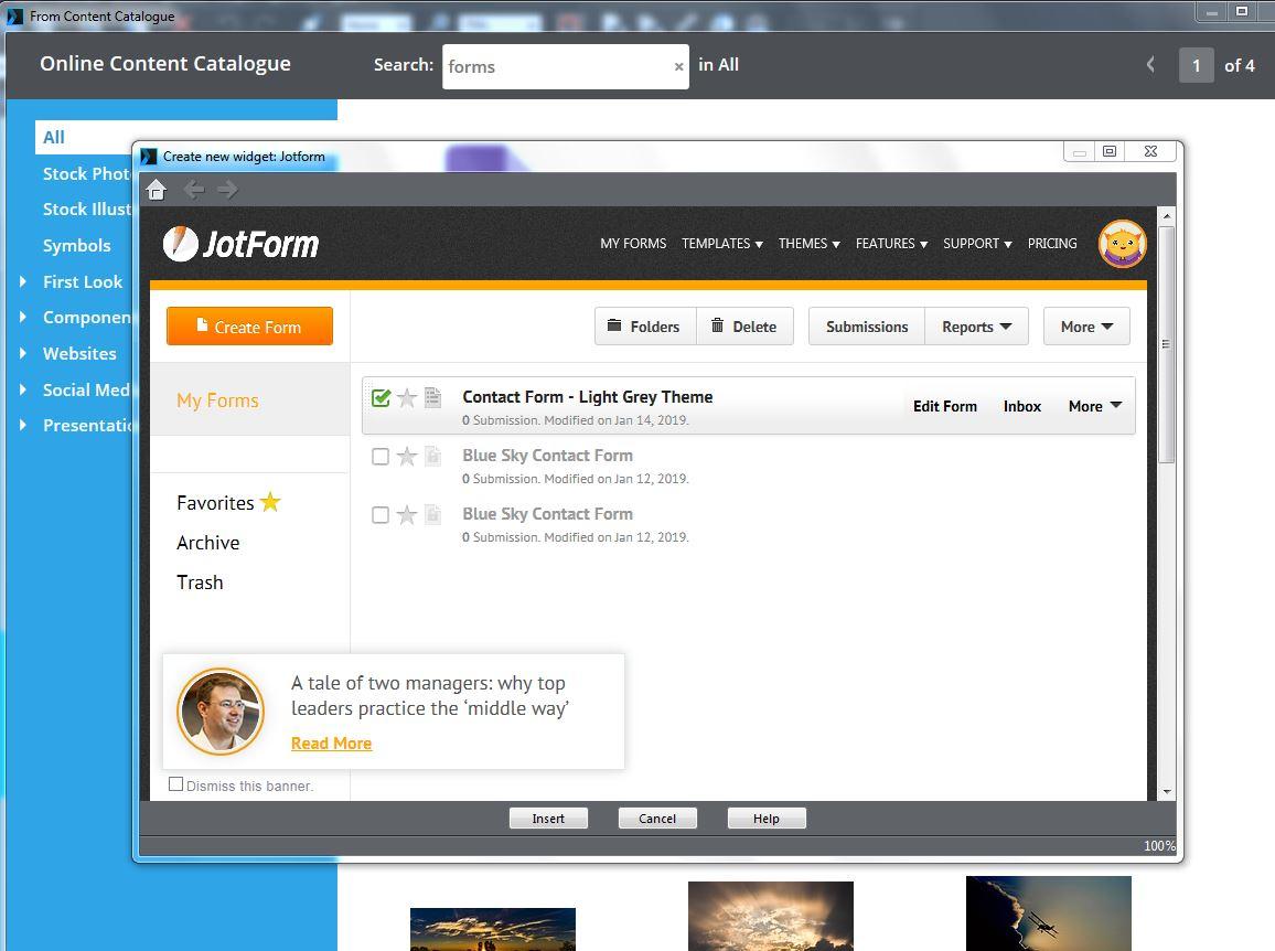 Inserting A Form Into Xara Web Designer Premium Version 15