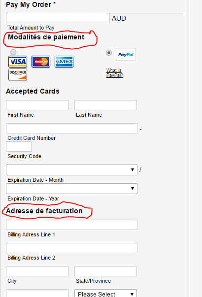 Paypal form is in the wrong language | JotForm