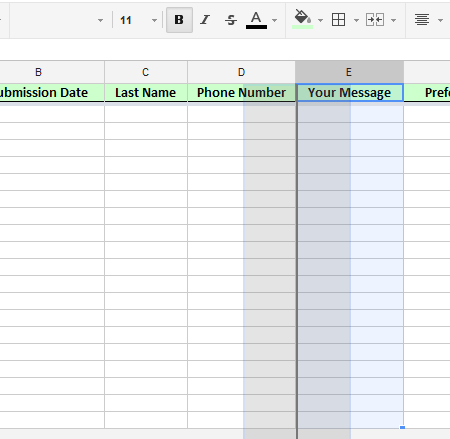 how to change column length googe spreadsheet
