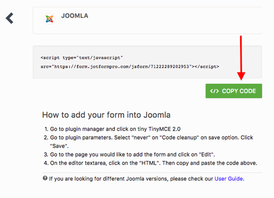 Adding a form to Joomla