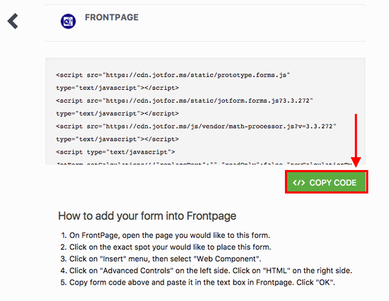 Adding a form to a Frontpage site