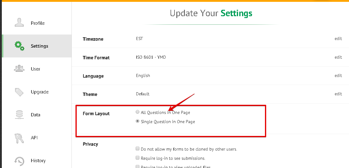 How to setup forms in the prior format not the new pages of questions to change the layout of all your forms that you create clone in the future go to your account settings and choose the desired layout ccuart Images