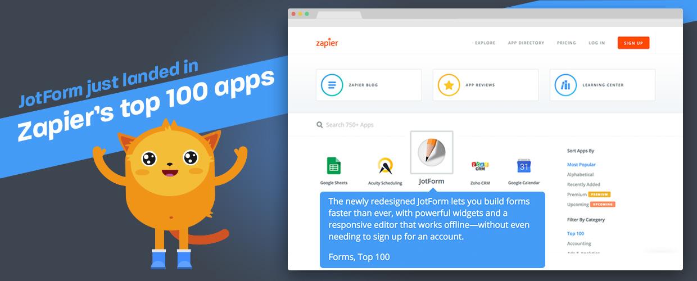 JotForm just landed in Zapier's top 100 apps!