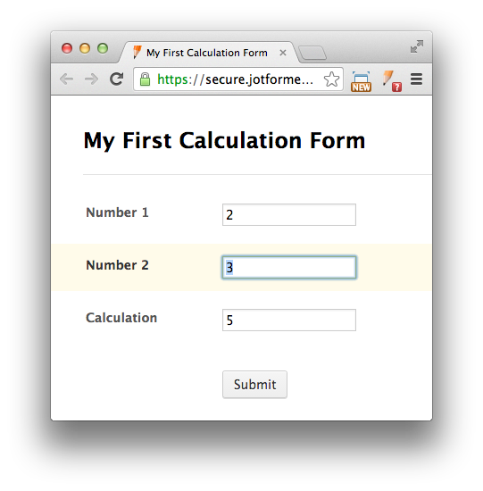 calculation form