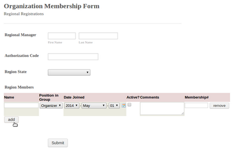 configurable list widget for forms
