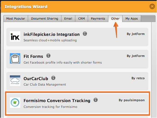 formisimo conversion tracking app on jotform