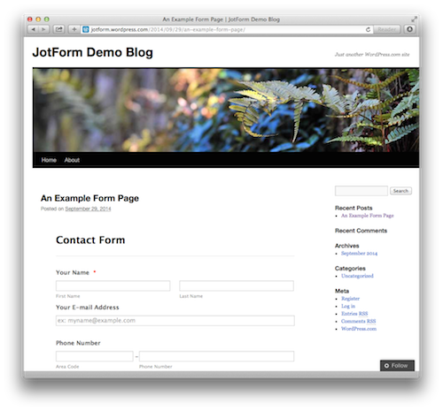 jotform in wordpress.com