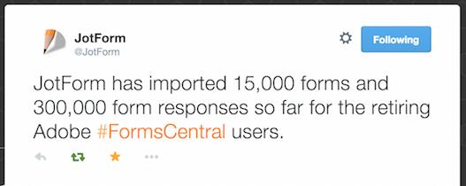 jotform imports 15,000 formscentral forms