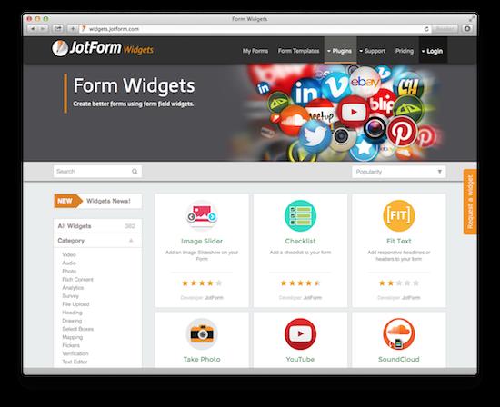 form widgets