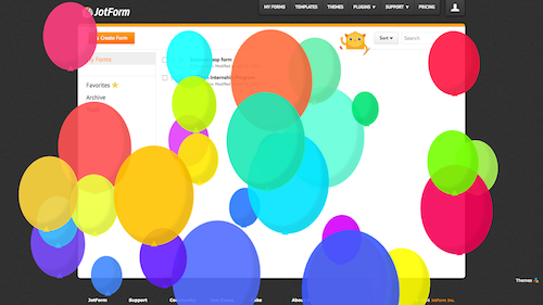 jotform is filled with baloons