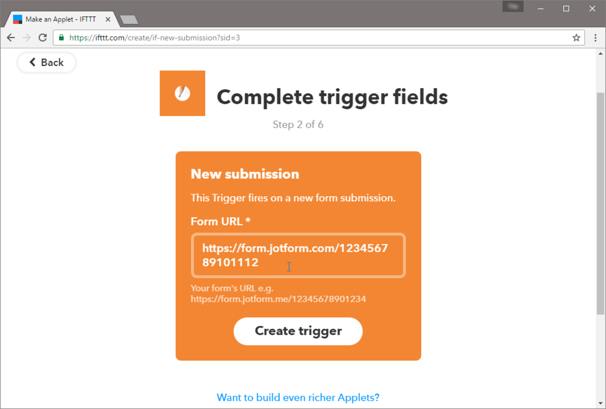 IFTTT form builder