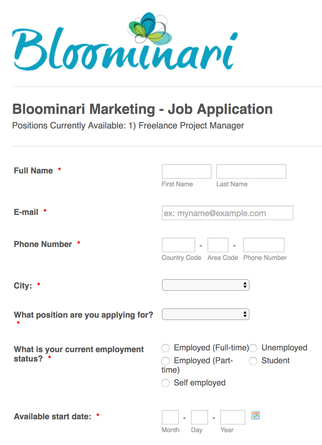 apply to bloominari