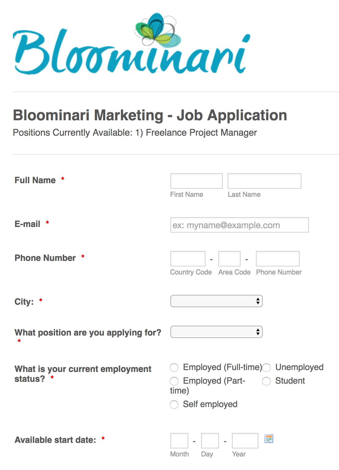 Apply To Bloominari