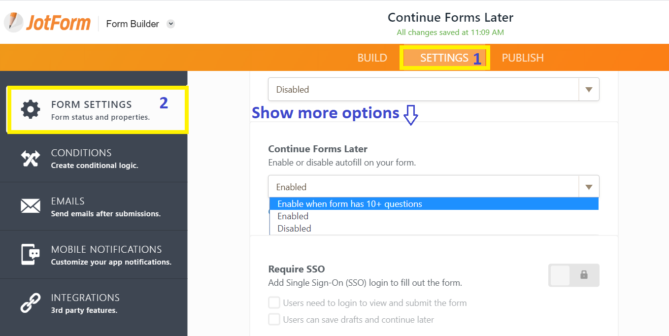 Continue Forms Later