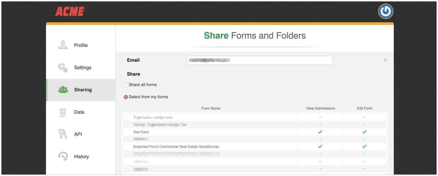 Sharing Forms and Folders